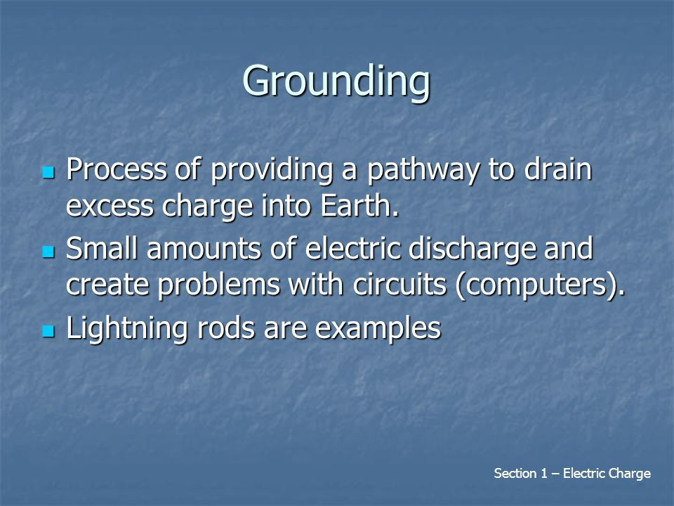 Grounding Process of providing a pathway to drain excess charge into Earth.