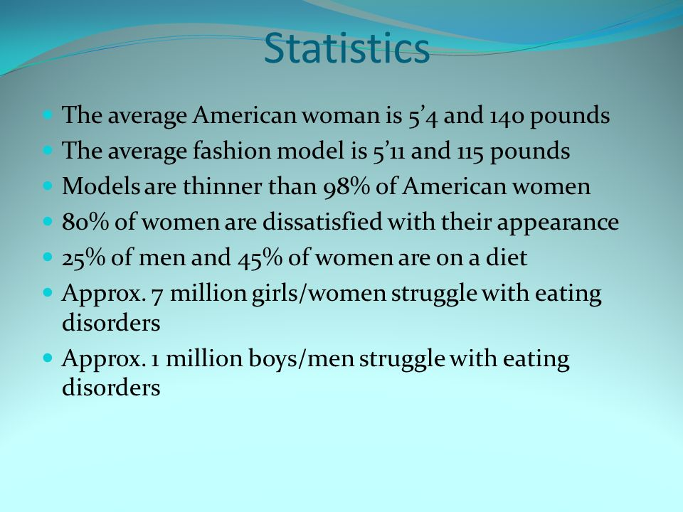 Statistics The average American woman is 5'4 and 140 pounds The average fashion model is 5'11 and 115 pounds Models are thinner than 98% of American women 80% of women are dissatisfied with their appearance 25% of men and 45% of women are on a diet Approx.