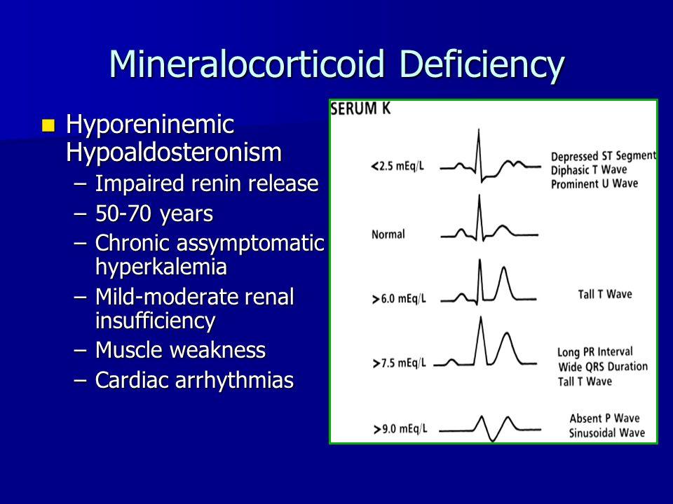 Mineralocorticoid Deficiency Hyporeninemic Hypoaldosteronism Hyporeninemic Hypoaldosteronism –Impaired renin release –50-70 years –Chronic assymptomatic hyperkalemia –Mild-moderate renal insufficiency –Muscle weakness –Cardiac arrhythmias