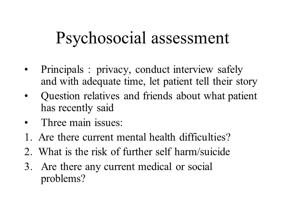 Assessment Following Deliberate Self Harm And Referral To Mental