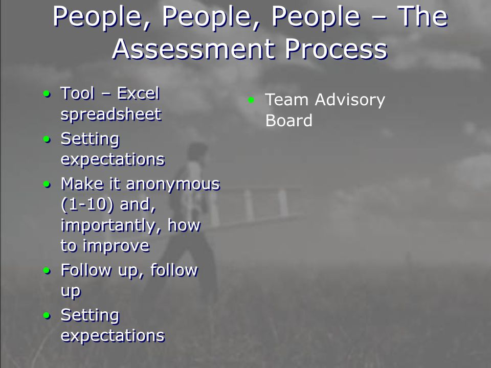 People, People, People – The Assessment Process Tool – Excel spreadsheet Setting expectations Make it anonymous (1-10) and, importantly, how to improve Follow up, follow up Setting expectations Tool – Excel spreadsheet Setting expectations Make it anonymous (1-10) and, importantly, how to improve Follow up, follow up Setting expectations Team Advisory Board