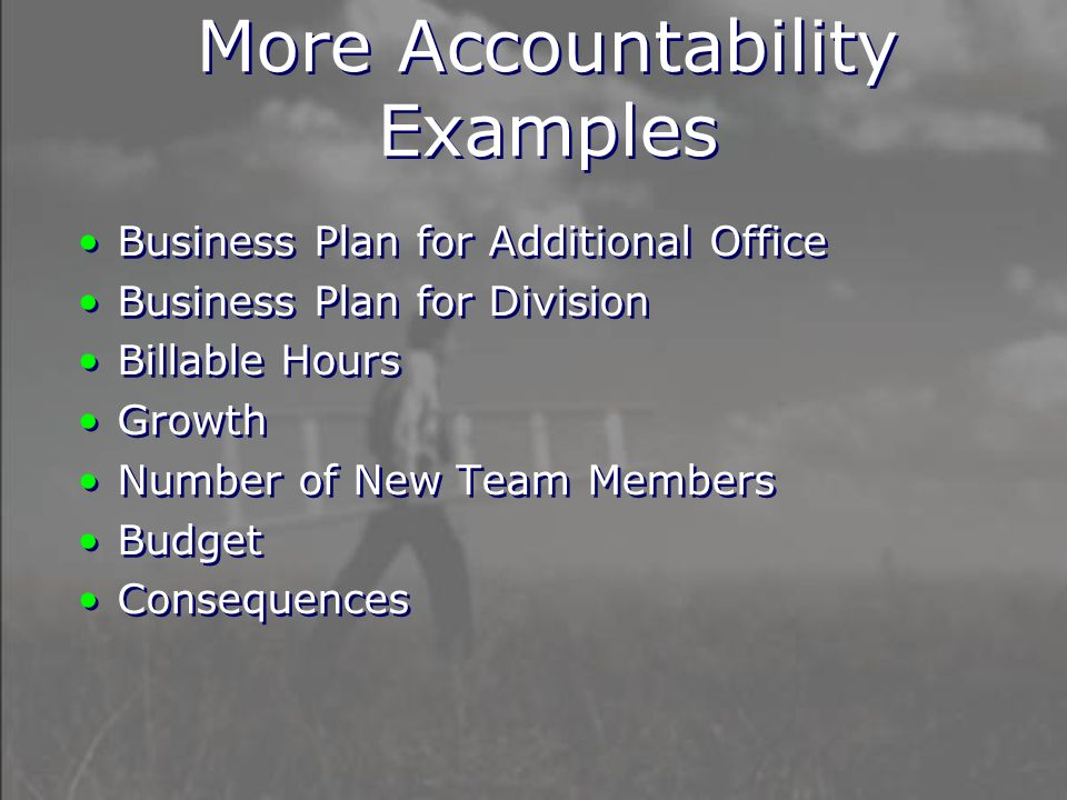 Business Plan for Additional Office Business Plan for Division Billable Hours Growth Number of New Team Members Budget Consequences Business Plan for Additional Office Business Plan for Division Billable Hours Growth Number of New Team Members Budget Consequences More Accountability Examples