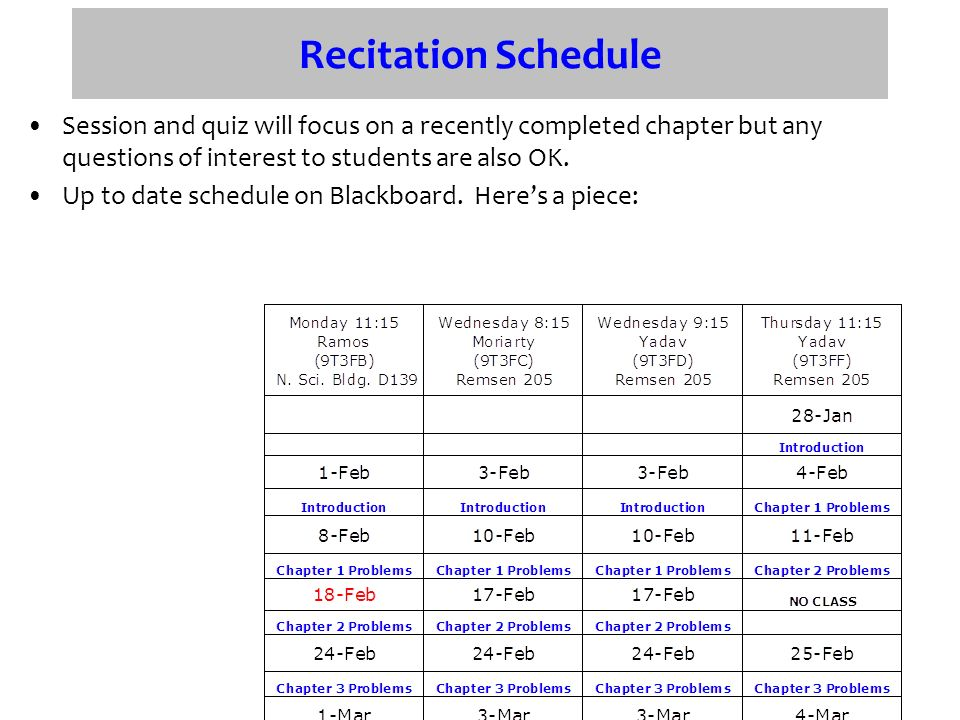 Recitation Schedule Session and quiz will focus on a recently completed chapter but any questions of interest to students are also OK.