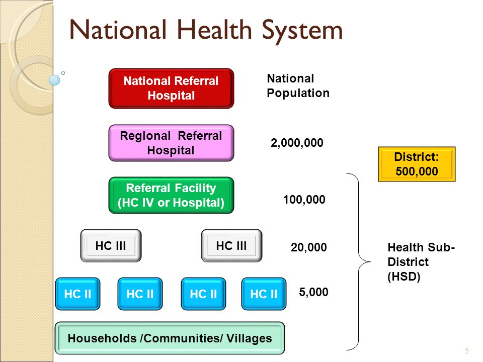 Households /Communities/ Villages HC II HC III Referral Facility (HC IV or Hospital) Regional Referral Hospital National Referral Hospital HC II HC III 5,000 20,000 100,000 2,000,000 Health Sub- District (HSD) National Population District: 500,000 National Health System 5