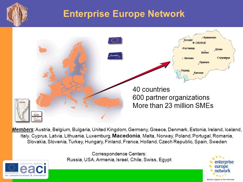 Enterprise Europe Network 40 countries 600 partner organizations More than 23 million SMEs Members: Austria, Belgium, Bulgaria, United Kingdom, Germany, Greece, Denmark, Estonia, Ireland, Iceland, Italy, Cyprus, Latvia, Lithuania, Luxemburg, Macedonia, Malta, Norway, Poland, Portugal, Romania, Slovakia, Slovenia, Turkey, Hungary, Finland, France, Holland, Czech Republic, Spain, Sweden Correspondence Centers: Russia, USA, Armenia, Israel, Chile, Swiss, Egypt
