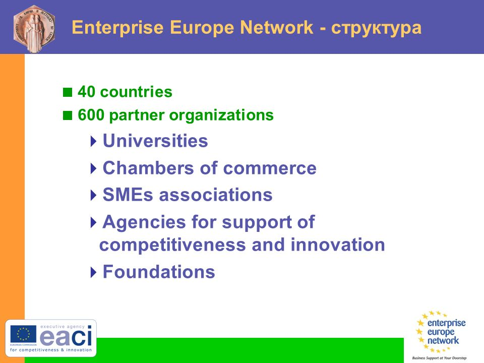 Enterprise Europe Network - структура  40 countries  600 partner organizations  Universities  Chambers of commerce  SMEs associations  Agencies for support of competitiveness and innovation  Foundations