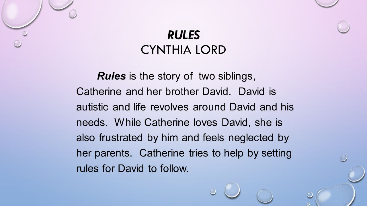 Rules By Cynthia Lord Catherine 91056 | MICROSEC