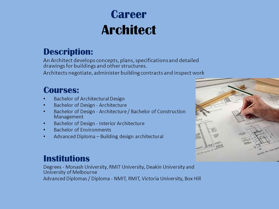 Career Architect Description: An Architect develops concepts, plans, specifications and detailed drawings for buildings and other structures.