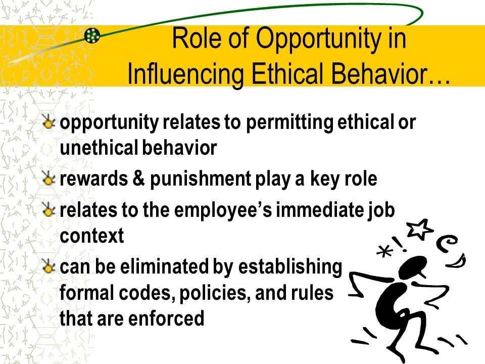my ethical influence Self-respect - i do my best to adhere to my own ethical standards as i perform my duties 7 respect of others - i value the opinions of others and do my best to avoid offending others in the workplace.