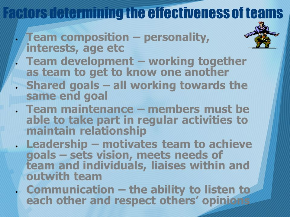 Factors determining the effectiveness of teams  Team composition – personality, interests, age etc  Team development – working together as team to get to know one another  Shared goals – all working towards the same end goal  Team maintenance – members must be able to take part in regular activities to maintain relationship  Leadership – motivates team to achieve goals – sets vision, meets needs of team and individuals, liaises within and outwith team  Communication – the ability to listen to each other and respect others' opinions
