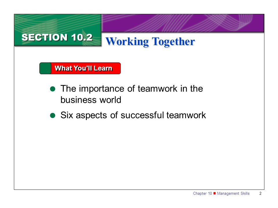 Chapter 10 Management Skills 2 SECTION 10.2 What You'll Learn  The importance of teamwork in the business world  Six aspects of successful teamwork