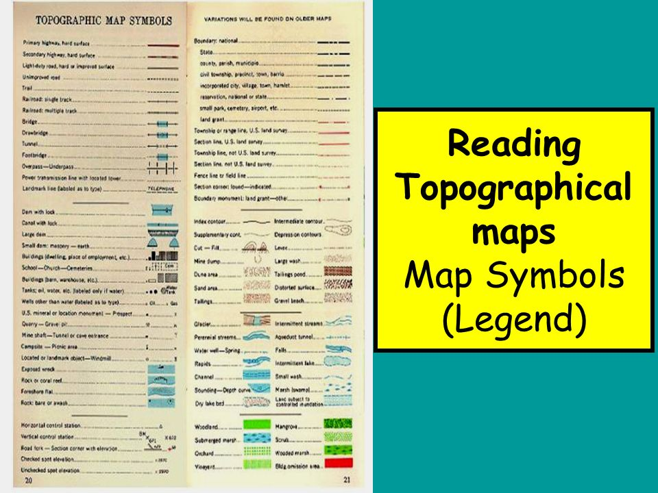 Map reading basic techniques read and interpret topographical 7 reading topographical maps map symbols legend sciox Images