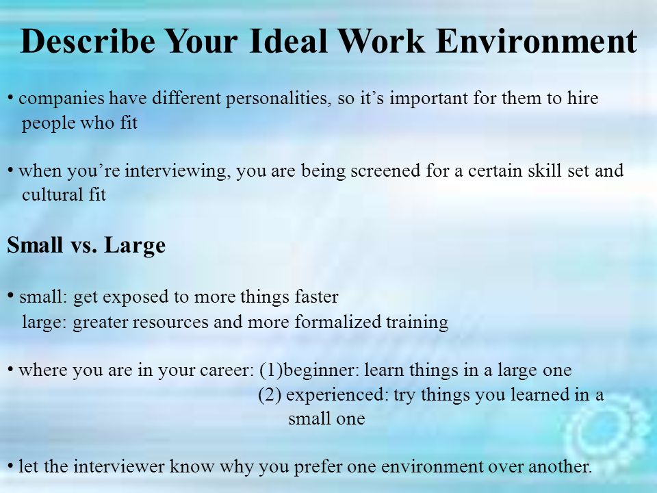 ideal work environment iaps essay Essay on ideal job such as a specific type of work environment that you have narrowed down the essay papers you wrote were perfect.