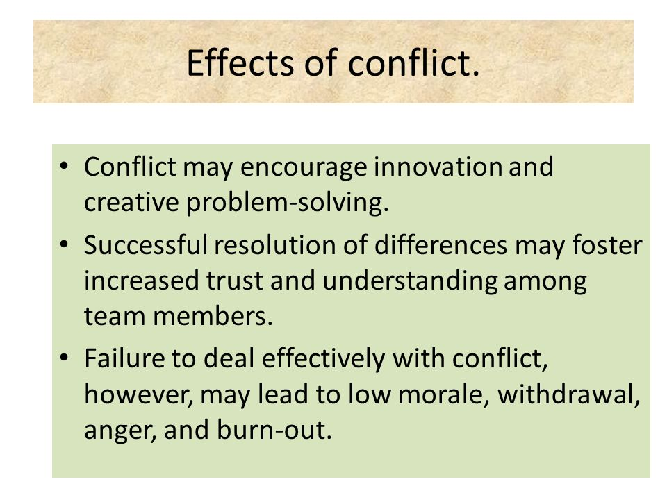 Effects of conflict. Conflict may encourage innovation and creative problem-solving.