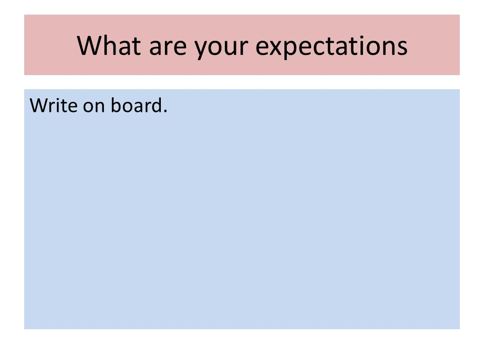 What are your expectations Write on board.
