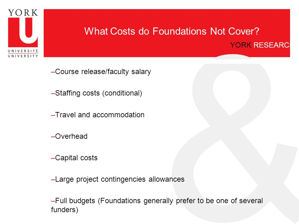 & YORK RESEARCH What Costs do Foundations Not Cover.