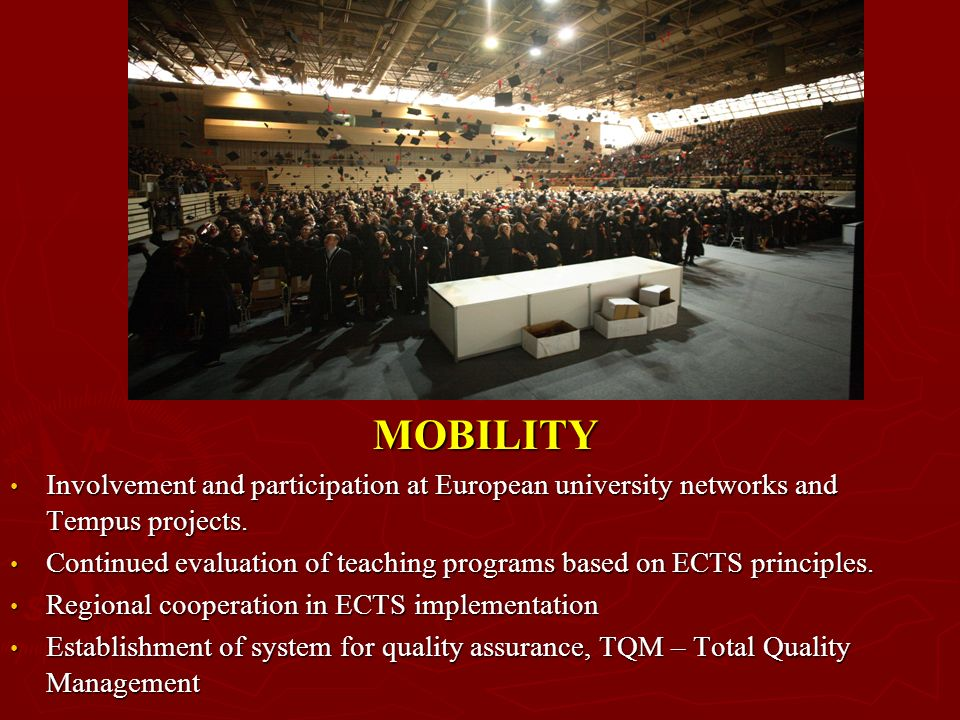 MOBILITY Involvement and participation at European university networks and Tempus projects.