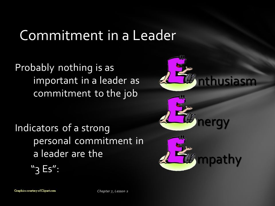 Chapter 7, Lesson 2 Commitment in a Leader Probably nothing is as important in a leader as commitment to the job Indicators of a strong personal commi