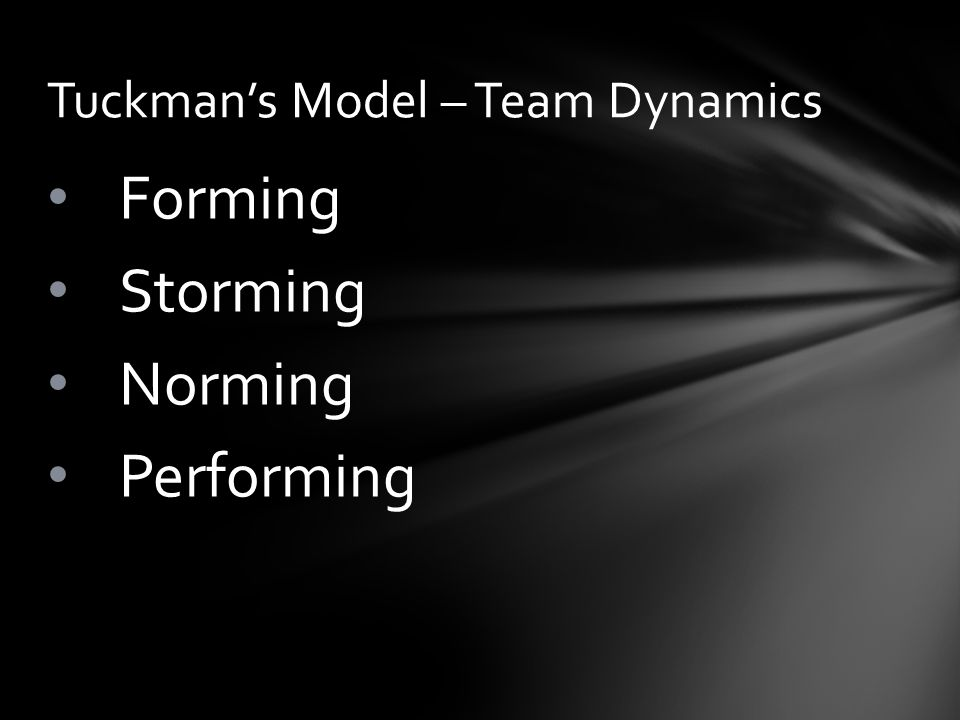 Forming Storming Norming Performing Tuckman's Model – Team Dynamics