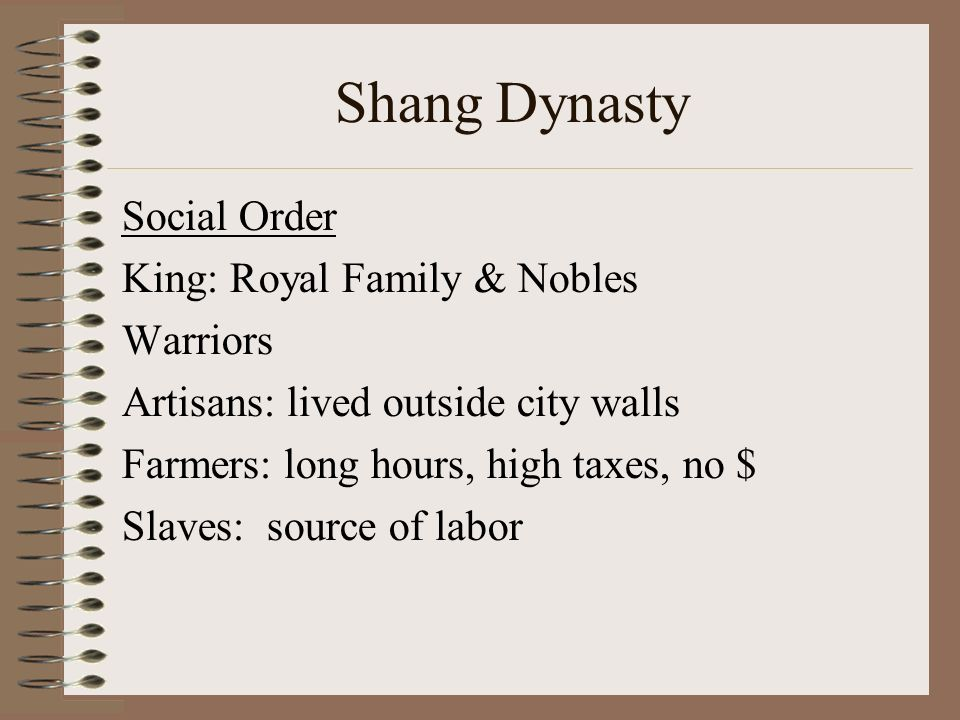 Shang Dynasty Social Order King: Royal Family & Nobles Warriors Artisans: lived outside city walls Farmers: long hours, high taxes, no $ Slaves: source of labor