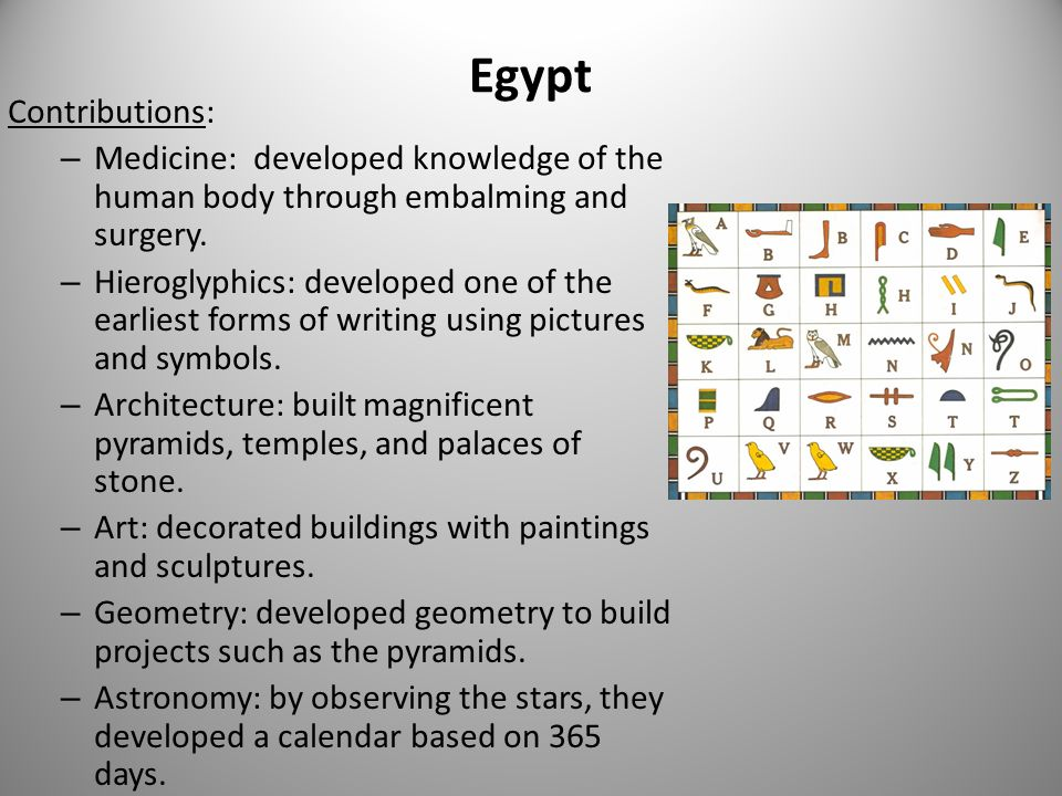 Egypt Contributions: – Medicine: developed knowledge of the human body through embalming and surgery.