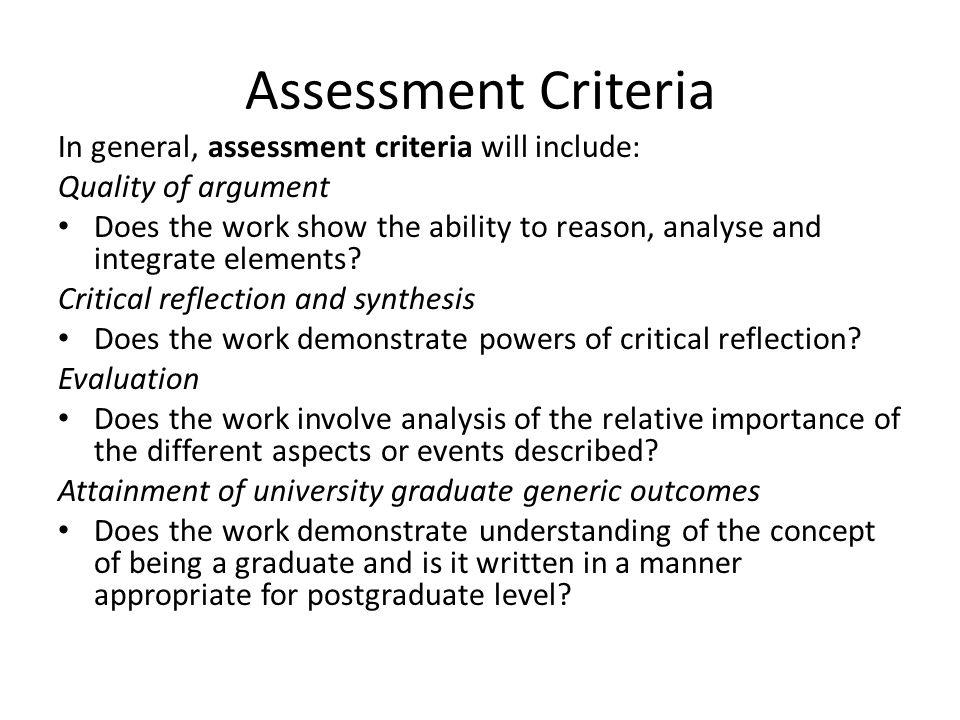 dissertation assessment criteria