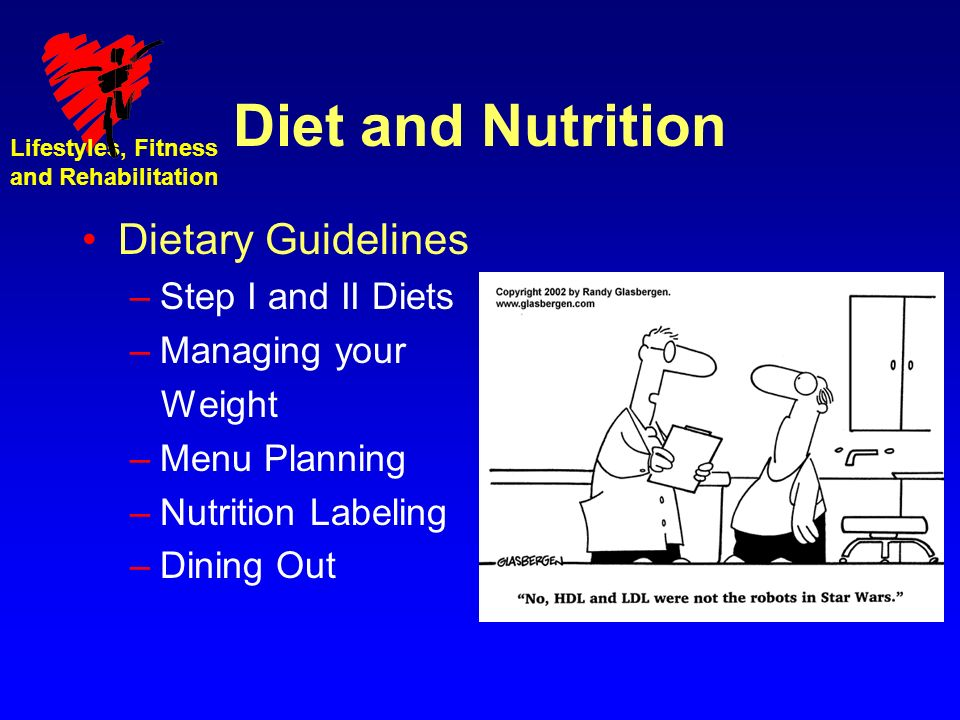 Lifestyles, Fitness and Rehabilitation Diet and Nutrition Dietary Guidelines –Step I and II Diets –Managing your Weight –Menu Planning –Nutrition Labeling –Dining Out