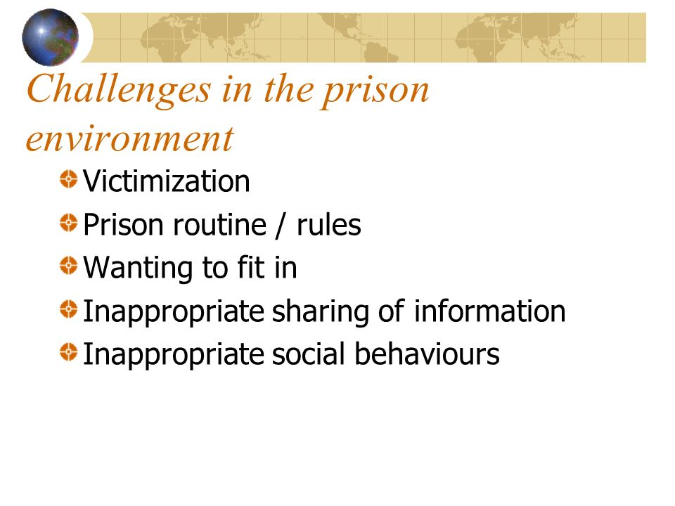 Challenges in the prison environment Victimization Prison routine / rules Wanting to fit in Inappropriate sharing of information Inappropriate social behaviours