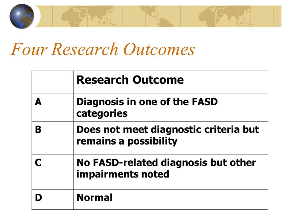 Four Research Outcomes Research Outcome ADiagnosis in one of the FASD categories BDoes not meet diagnostic criteria but remains a possibility CNo FASD-related diagnosis but other impairments noted DNormal