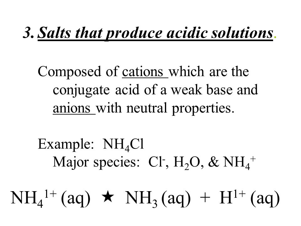 3.Salts that produce acidic solutions.