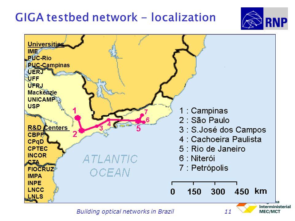 Building optical networks in Brazil11 GIGA testbed network - localization Universities IME PUC-Rio PUC-Campinas UERJ UFF UFRJ Mackenzie UNICAMP USP R&D Centers CBPF CPqD CPTEC INCOR CTA FIOCRUZ IMPA INPE LNCC LNLS