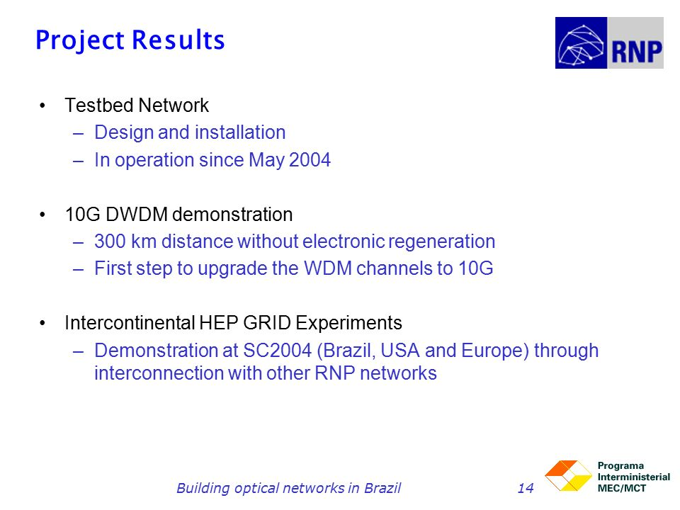 Building optical networks in Brazil14 Project Results Testbed Network –Design and installation –In operation since May G DWDM demonstration –300 km distance without electronic regeneration –First step to upgrade the WDM channels to 10G Intercontinental HEP GRID Experiments –Demonstration at SC2004 (Brazil, USA and Europe) through interconnection with other RNP networks