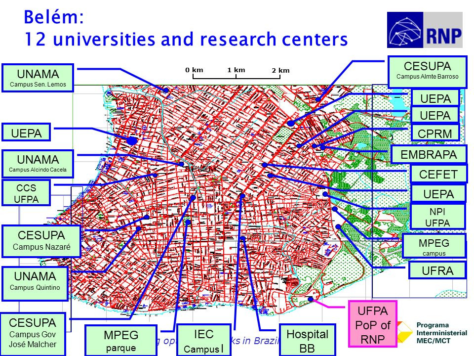 Building optical networks in Brazil19 Belém: 12 universities and research centers UFPA PoP of RNP UFRA MPEG campus EMBRAPA NPI UFPA CCS UFPA CEFET UEPA Belem CESUPA Campus Nazaré UNAMA Campus Quintino UNAMA Campus Alcindo Cacela UNAMA Campus Sen.