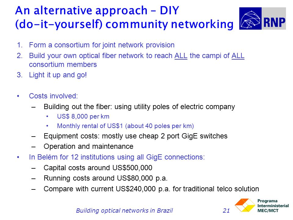 Building optical networks in Brazil21 An alternative approach – DIY (do-it-yourself) community networking 1.Form a consortium for joint network provision 2.Build your own optical fiber network to reach ALL the campi of ALL consortium members 3.Light it up and go.