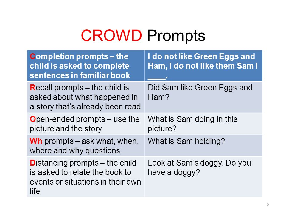 CROWD Prompts Completion prompts – the child is asked to complete sentences in familiar book I do not like Green Eggs and Ham, I do not like them Sam I ____.