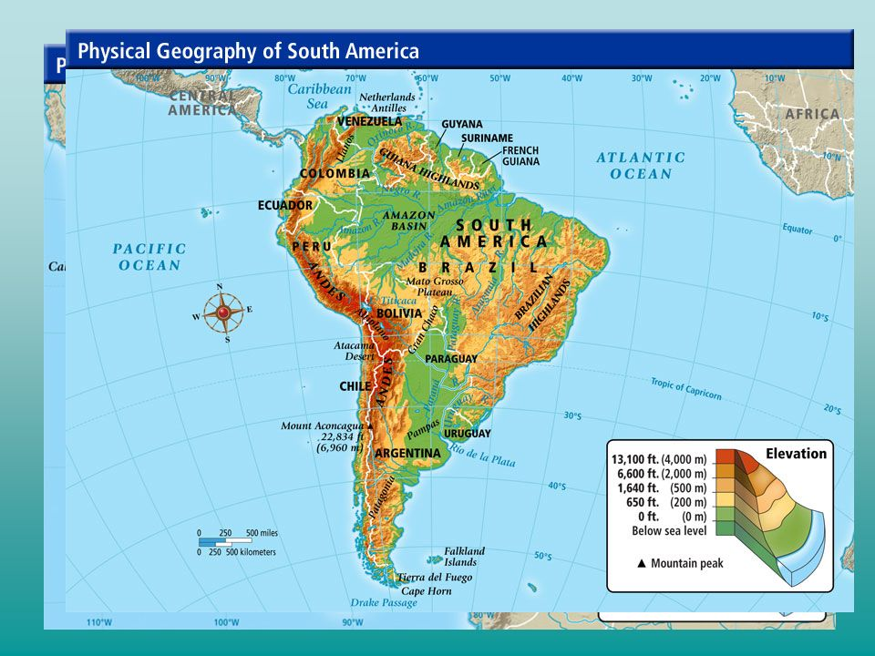 Latin America Physical Geography Regions Of Latin America I - South america map physical