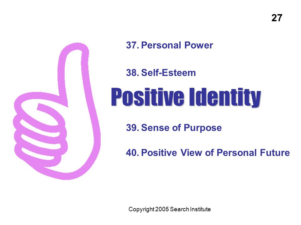 37.Personal Power 38.Self-Esteem 39.Sense of Purpose 40.Positive View of Personal Future Positive Identity Copyright 2005 Search Institute 27