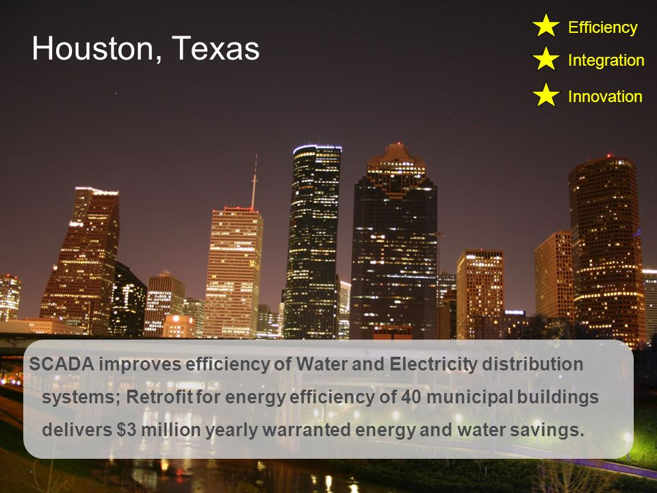 Schneider Electric 8 Smart Cities Houston, Texas SCADA improves efficiency of Water and Electricity distribution systems; Retrofit for energy efficiency of 40 municipal buildings delivers $3 million yearly warranted energy and water savings..