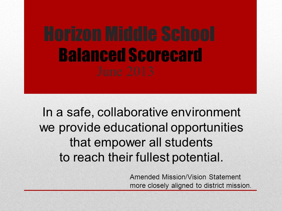 Horizon Middle School June 2013 Balanced Scorecard In a safe, collaborative environment we provide educational opportunities that empower all students to reach their fullest potential.