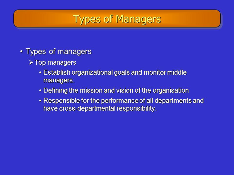 Types of Managers Types of managersTypes of managers  Top managers Establish organizational goals and monitor middle managers.Establish organizationa