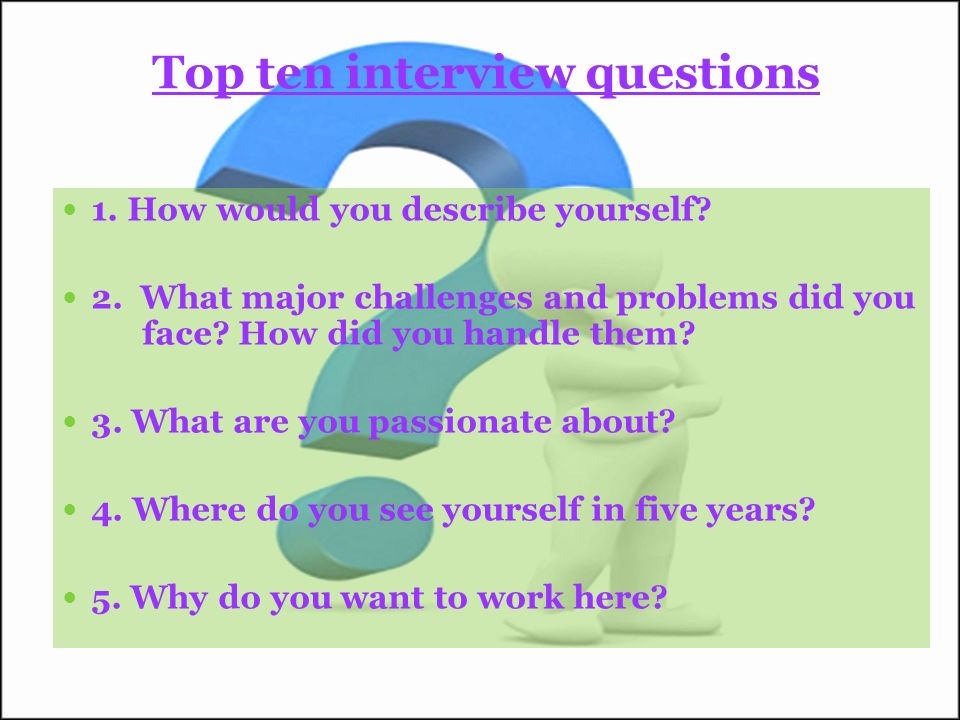 Top ten interview questions 1. How would you describe yourself.