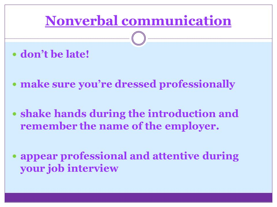Nonverbal communication don't be late.