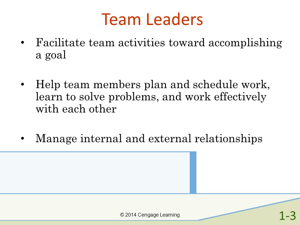Team Leaders Facilitate team activities toward accomplishing a goal Help team members plan and schedule work, learn to solve problems, and work effect
