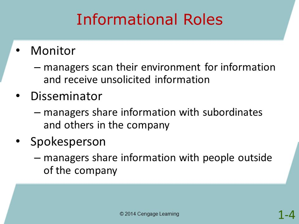 Informational Roles © 2014 Cengage Learning Monitor – managers scan their environment for information and receive unsolicited information Disseminator