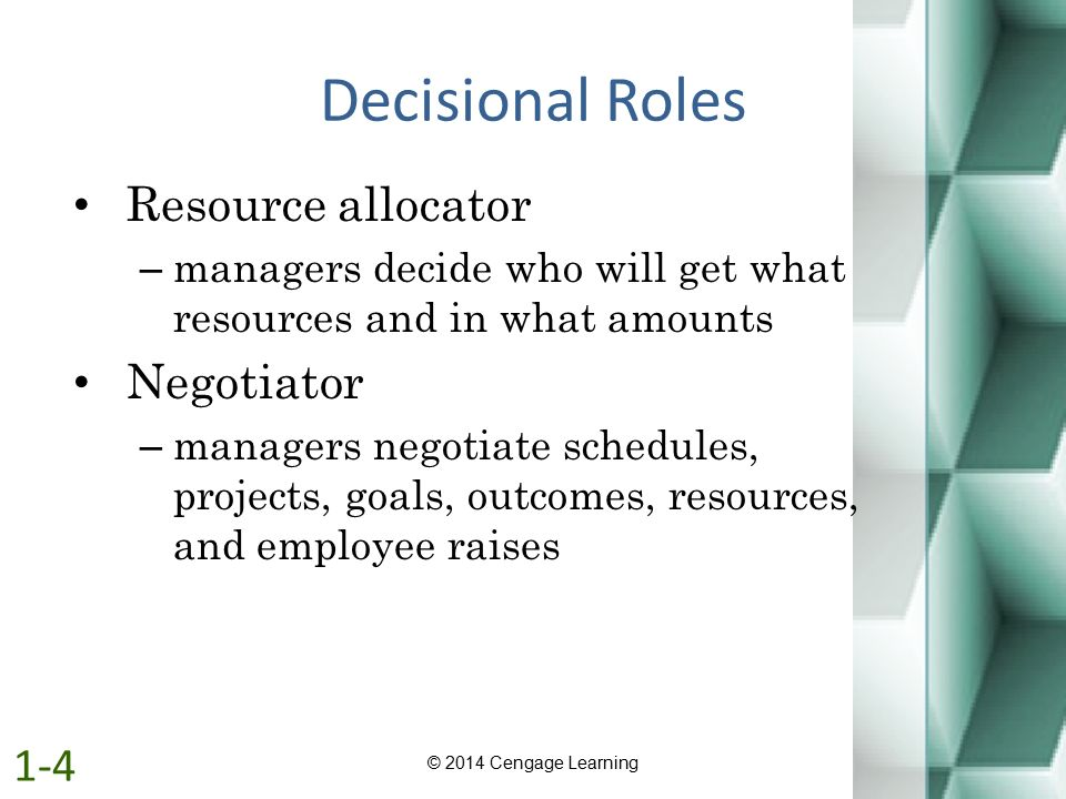 Decisional Roles Resource allocator – managers decide who will get what resources and in what amounts Negotiator – managers negotiate schedules, proje