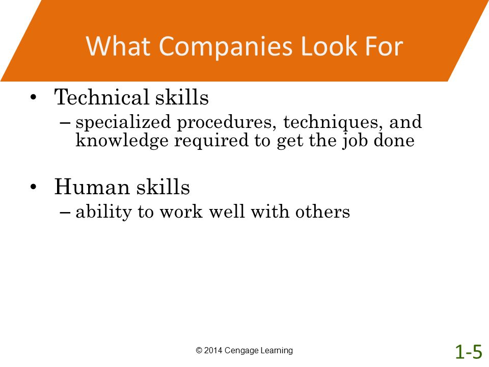 What Companies Look For Technical skills – specialized procedures, techniques, and knowledge required to get the job done Human skills – ability to wo