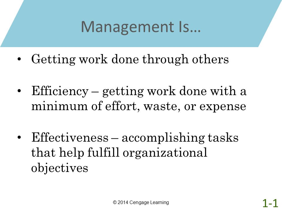 Management Is… Getting work done through others Efficiency – getting work done with a minimum of effort, waste, or expense Effectiveness – accomplishi