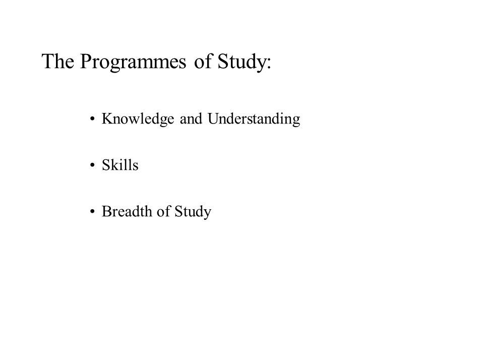 The Programmes of Study: Knowledge and Understanding Skills Breadth of Study