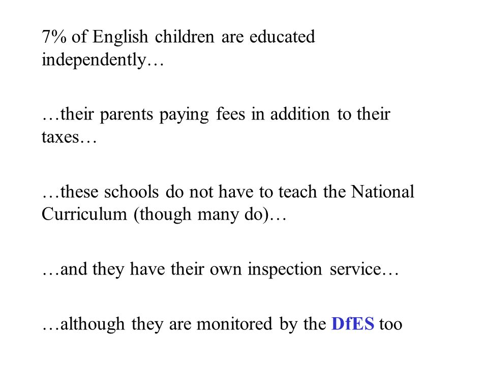 7% of English children are educated independently… …their parents paying fees in addition to their taxes… …these schools do not have to teach the National Curriculum (though many do)… …and they have their own inspection service… …although they are monitored by the DfES too