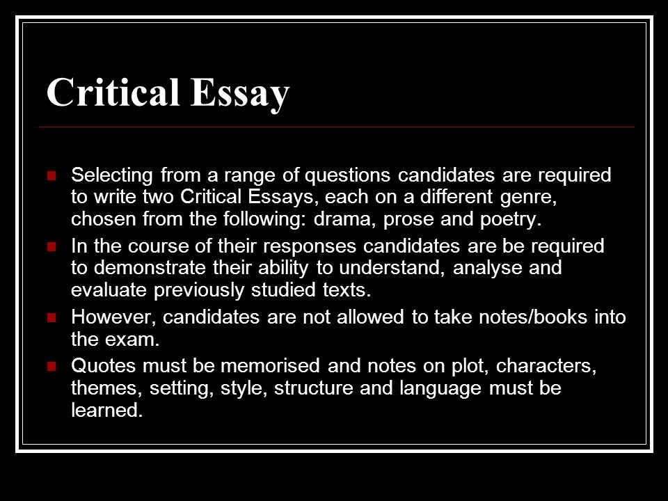 Higher Critical Essay Tips